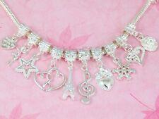 FreeShip Wholesale 100 Silver Tone Mixed Dangle Charms Fit Bracelet NY04