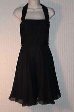 Kathryn Conover Formal Silk Neck Halter Lace Dress Black Solid Above Knee,Mini 4