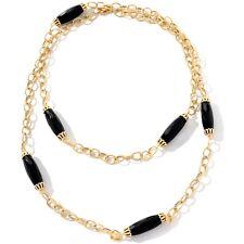 "Technibond Black Onyx Gemstone Necklace 14K Yellow Gold Clad Sterling Silver 40"""