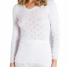 Womens Snowdrop Soft Thermal Underwear Long Sleeve Vests Black or White