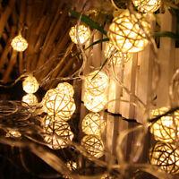 2.5M 20 Rattan Ball Led String Fairy Lights Christmas Tree Ornament Xmas Deco BR