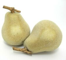 Fake Fruit 2 Pears Shiny Gold Color White Embossed Speckles Plastic 3.5""