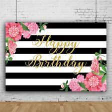 Striped Flowers Birthday Photography 7x5Ft Background Props Vinyl Backdrop