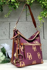 New Dooney & Bourke WINE monogram hobo purse Large Sac Shoulder Bag Handbag