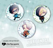 Yuri on Ice !!! Anime Buttons Set Chibi Art