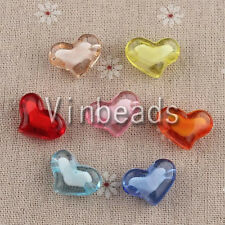 100pcs 21.5*16mm Mix Color Heart Acrylic Bead in Bead Pendants Bracelet Necklace