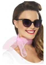Pink 50s Chiffon neck Scarf Grease Rockabilly Retro Costume accessory