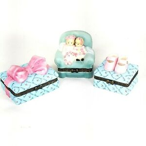 Madame Alexander 3 Trinket Box LOT Pretty Bow, Forever Friends, Pink Shoe Boxes