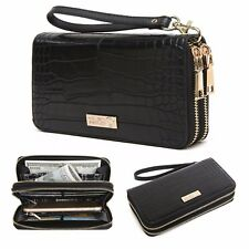 CrossLandy Women's RFID Blocking Wallet Double Zip Around Wristlet Clutch Purse
