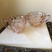 Vintage Pink Rose Depression Glass Creamer and Sugar Bowl Set Beautiful