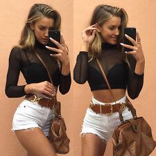 Womens Ladies Black Long Sleeve See Through Mesh Crop Top T-Shirt Fashion Blouse