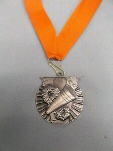 "CHEERLEADING victory 2"" diameter silver medal award orange neck drape megaphone"