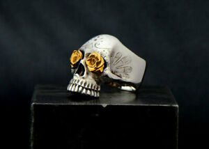 Solid 925 Sterling Silver Skull Symbol Statement Boys Mens Signet Ring Jewelry