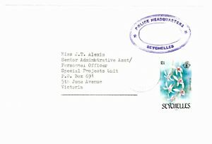 SEYCHELLES - POLICE HEADQUARTERS Handstamp 1989 Local Cover