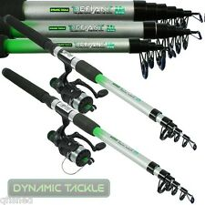 2 X TELESCOPIC FISHING RODS AND REELS 6ft,8ft,10 CHOOSE ROD SIZE TRAVEL SET