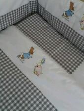 Peter Rabbit Cot Quilt In Grey Gingham