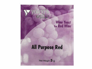 Youngs All Purpose RED Wine Yeast 5g Sachet - Treats 23L 5 Gallons - Homebrew