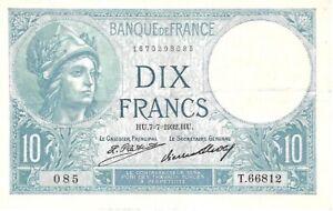 Billet 10 Francs Minerve HU.7=7=1932.HU. - T.66812 085