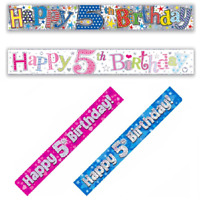 Happy 5th Birthday Holographic Foil 9ft Pink Blue Age 5 Banner Party Decoration