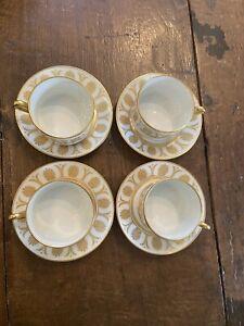 Richard Ginori Designer Italian Pompei White & Gold China Coffee/Tea Set Of 4