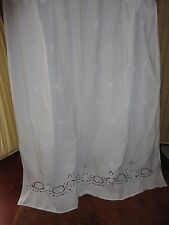 SIMPLY SHABBY CHIC CRISP WHITE BATTENBURG LACE EMBROIDERED SHOWER CURTAIN 70X68