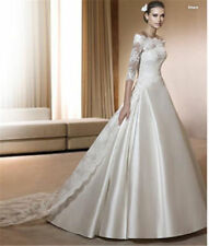 Satin Portrait/Off-Shoulder A-line Wedding Dresses