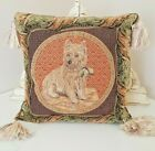 2 TWO Cairn Terrier Throw Pillows Tapestry 12x12 inch Square Corner Tassels Pair