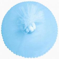 "50 Scalloped Tulle Circles 12"" Wedding Favor Wrap - Light blue"