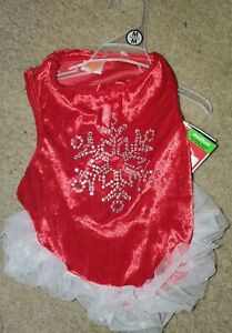 Puppy Apparel Red Dress Pet Dog Lovely Skirt Christmas Party Clothes NWT MEDIUM