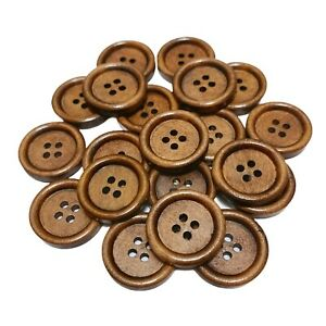 30 WOOD 20mm ROUND WOODEN COFFEE BUTTONS - CRAFT - SCRAPBOOK - CARDMAKING