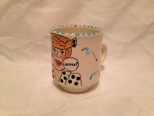Vintage Mug JERRY FENTER Woman Coffee Drinker Hand Painted Signed