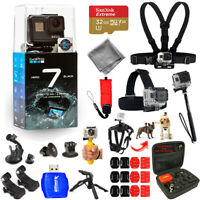 GoPro HERO7 Action Camera (Black) 32GB Head and Chest Strap Accessory Bundle