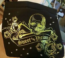 Loop Black Canvas SWEET and VICIOUS HOBO w/Skull and Roses~New with tags