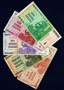 50,20,10,5,1 Billion Dollars Zimbabwe Banknotes Set AA AB 2008 Currency Lot 5PCS