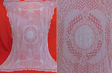 Vintage Antique Whitework Normandy Lace Embroidered Batiste Bedspread Tablecloth