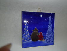 Ceramic Cork Backed Tile Trivet Hot Pad Tomte & Bear by Eva Melhuish #EVA12