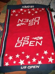 """RARE US Open Tennis Towel RED NAVY 24""""x34"""" USTA Officially Licensed Made in USA"""