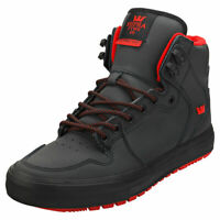 Supra Vaider Mens Black Leather Casual Trainers