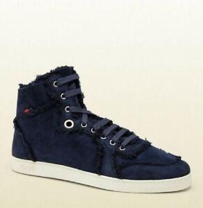 Gucci Men's Blue Suede Shearling High-Top Sneaker w/Web 309408 4009