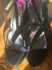 "Etienne Aigner Black Patent Strappy Shoes Size 8-1/2...Great Support 3"" Heel NEW"