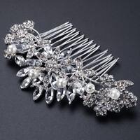 Silver Tone Hair Comb Bridal Wedding Crystal Rhinestone Hair Accessories MUCH®