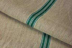 GRAINSACK GRAIN SACK fabric linen homespun European GREEN WHITE stripe bag feed