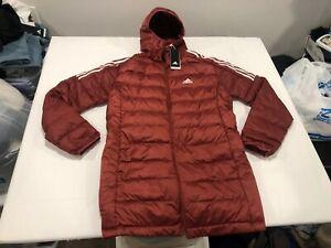 NWT $120.00 Adidas Mens Essentials Down Parka Legacy Red Size MEDIUM