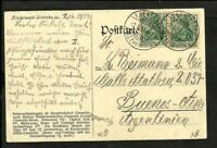 GERMANY 1914 PCARD. TO ARGENTINA, EBERSDORF CANCEL VERY FINE