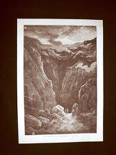 Incisione di Gustave Dorè del 1874 Barranco de Poqueira nelle Alpujarras Spagna