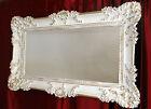 Gran Espejo de Pared Espejo barroca rectangular Antiguo Oro Blanco 96x57