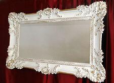 Grosser Wandspiegel Spiegel Barock Rechteckig Antik  Weiß-Gold 96x57