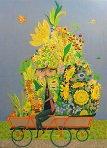"Guillermo Silva ""Vendedor De Flores"" Signed & Numbered Fine Art Lithograph japon"
