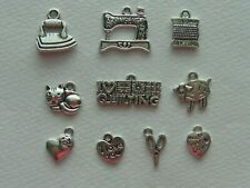 QUILTING CHARM PENDANT SET COLLECTION IRON SEWING MACHINE CAT SHEEP SCISSORS