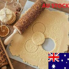 35CM Wooden Rolling Pin Embossing Engraved Dough Roller Cookies Flower Pattern